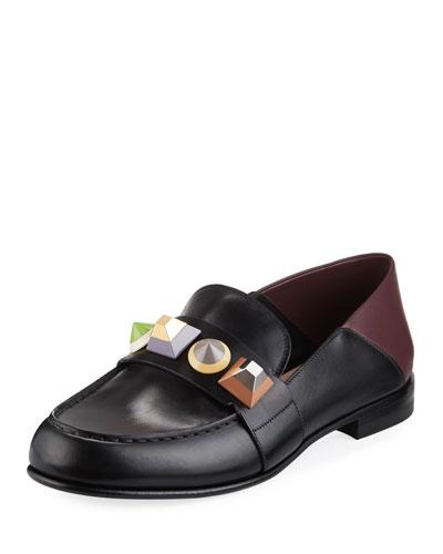 Rainbow Stud Leather Loafer, Nero/Bordeaux/Multi
