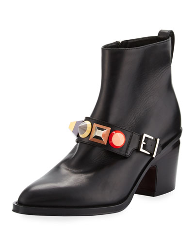Rainbow-Stud Leather Bootie, Nero/Multi