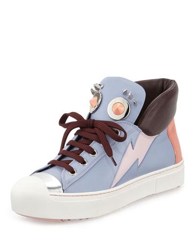 Cap-Toe High-Top Monster Sneaker, Lilac/Cotton Candy/Bordeaux