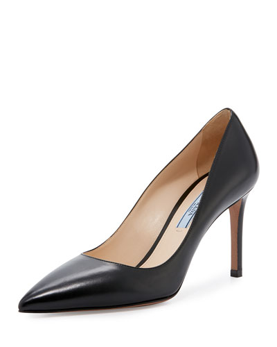 Leather Pointed-Toe 85mm Pump, Black (Nero)
