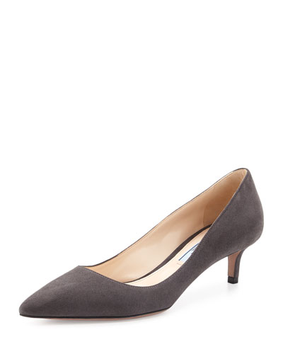 Suede Pointed-Toe 45mm Pump, Nebbia