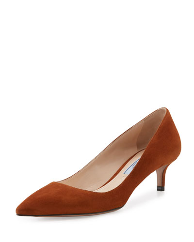 Suede Pointed-Toe 45mm Pump, Pallisandro