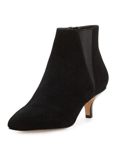 Geeo Suede Pointed-Toe Bootie, Dark Brown