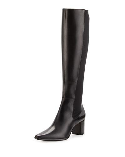Lira Leather Mid-Heel Knee Boot, Black