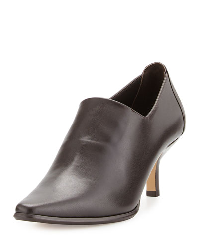 Loui Stretch Leather Bootie, Dark Brown