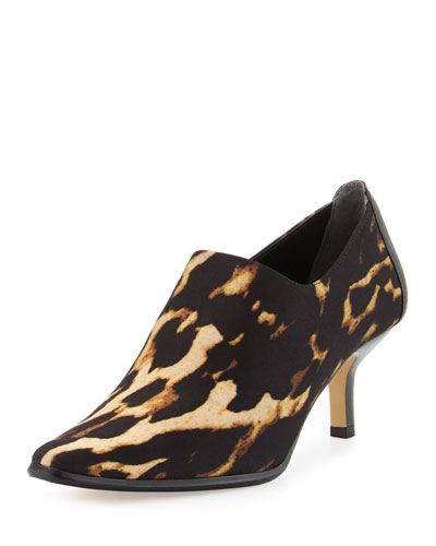Loui Stretch Crepe Bootie, Black/Natural Leopard