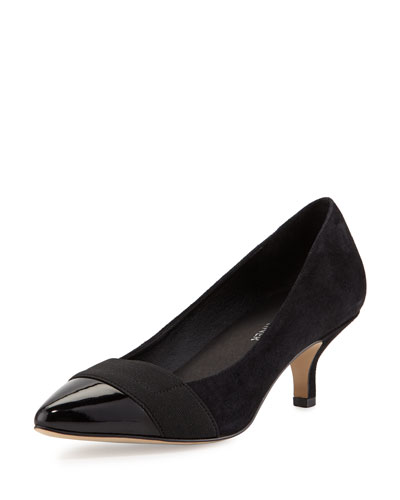 Gia Suede Pointed-Toe Pump, Black
