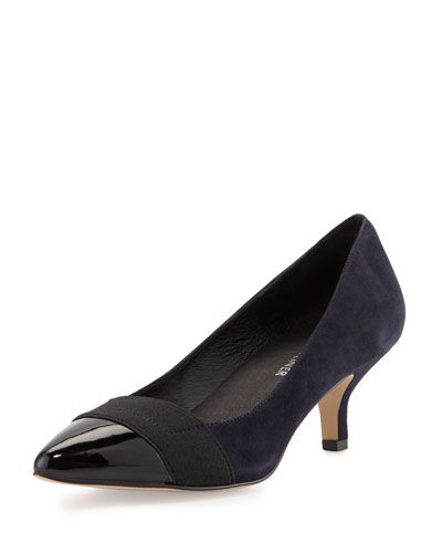 Gia Suede Pointed-Toe Pump, Black/Navy