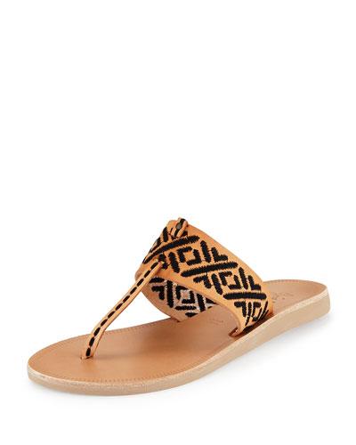Zariah Embroidered Thong Sandal, Natural/Black