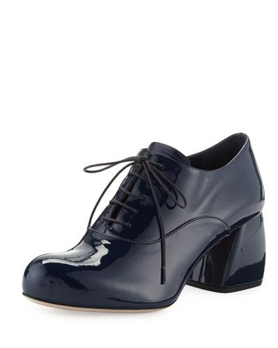 Lu Patent Block-Heel Oxford, Royal