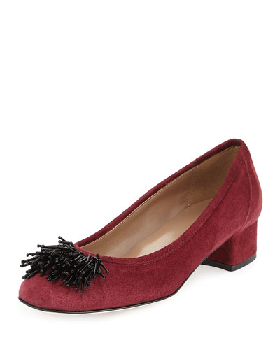 Flynn Beaded Suede Pump, Bordeaux