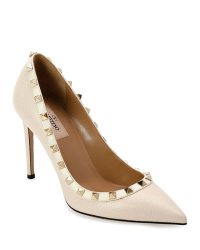 Rockstud Leather 100mm Pumps, Ivory