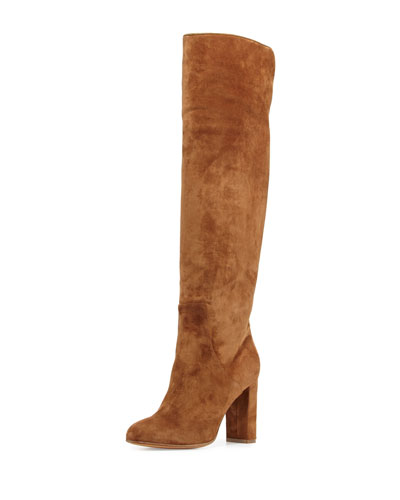 Theresa Suede Over-the-Knee Boot, Brown