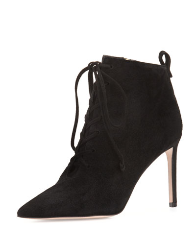 Becca Suede Lace-Up Bootie, Black