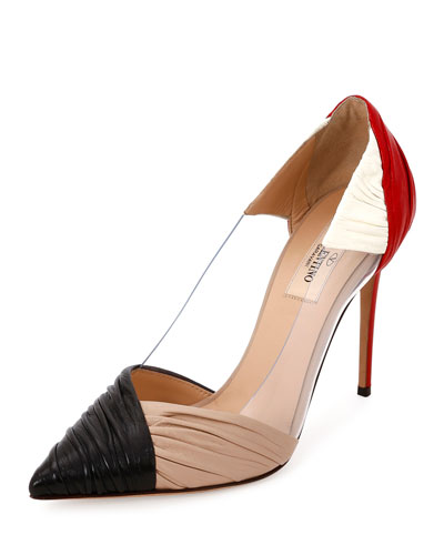 B-Drape Leather 100mm Pump, Red/Black/Ivory/Poudre