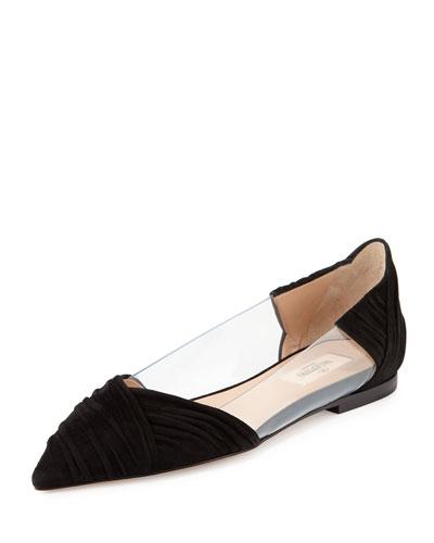 B-Drape Suede Ballerina Flat, Nero