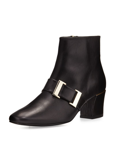 Chill Leather Buckle Bootie, Black