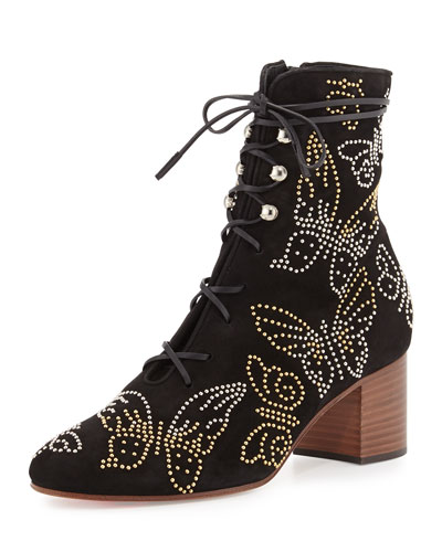 Butterfly-Studded Lace-Up Boot, Black (Nero)