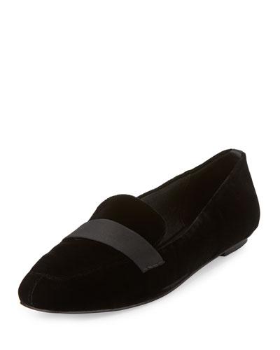 Fab Satin-Strap Velvet Loafer, Black