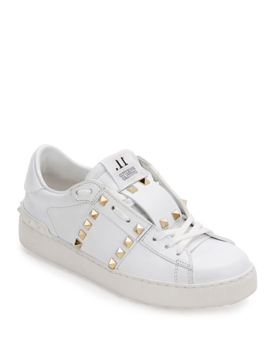 Rockstud Untitled Leather Sneaker, White