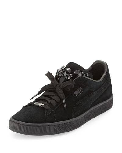 Basket Jeweled Suede Sneaker, Black