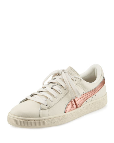 Basket Classic Metallic Low-Top Sneaker, Whisper White/Copper