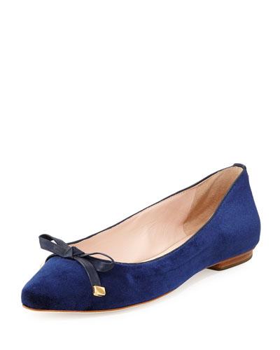 emma too velvet ballerina flat, blue