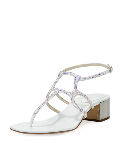 Crystal T-Strap 40mm Sandal, White