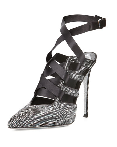 Crystal Lace-Up 115mm Pump, Gray