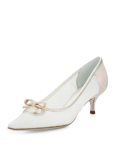 Lace Pointed-Toe Bow Flat, White
