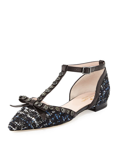 becca jeweled t-strap ballerina flat, blue/multi