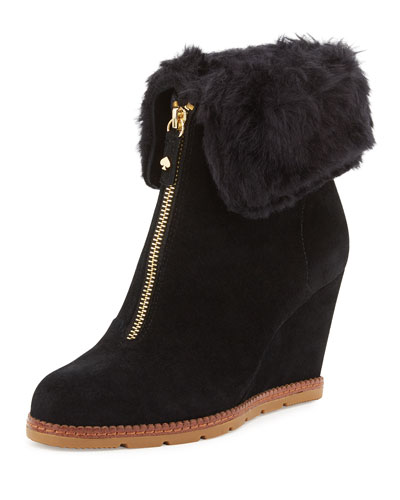 stasia shearling-cuff wedge bootie, black