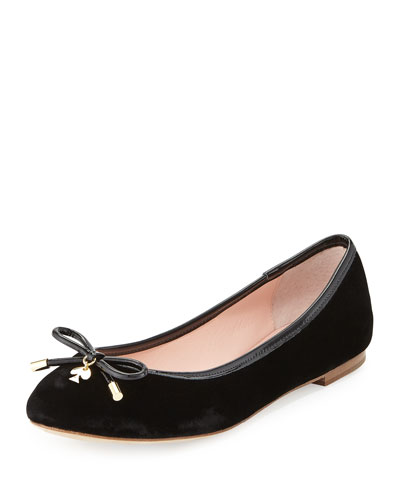 willa velvet ballerina flat, black