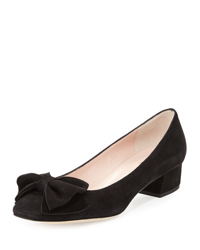 molly suede low-heel bow pump, black
