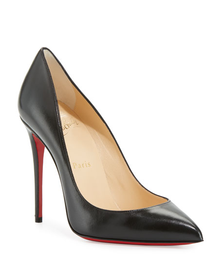 Christian Louboutin Pigalle Follies Leather 100mm Red Sole Pumps, Black