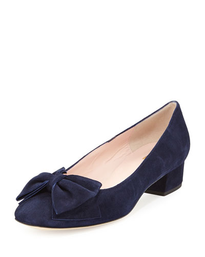 molly suede low-heel bow pump, navy