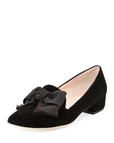 gino velvet bow loafer pump, black
