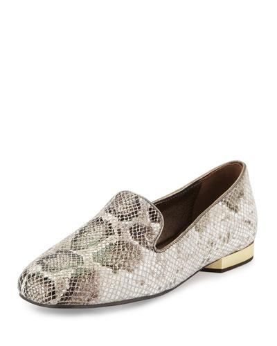 Hazel Snake-Print Leather Loafer, Taupe