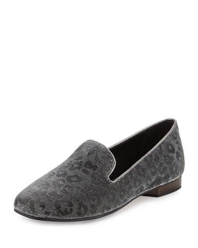 Hazel Shimmery Leopard-Print Loafer, Gunmetal