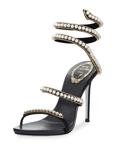 Pearly & Crystal Snake 105mm Sandal, Black