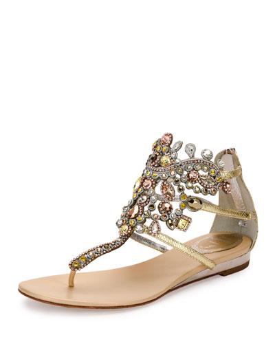 Jewel-Embellished Flat Thong Sandal, Platinum/Rose Gold