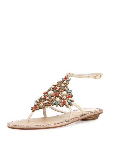 Crystal & Pearly Ankle-Wrap Thong Sandal, Cream/Red/Aquamarine