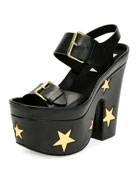 Buckle Star Platform Sandal, Black