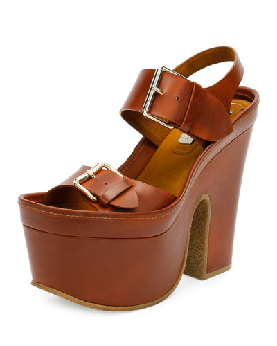 Buckle Faux-Leather Platform Sandal, Praline