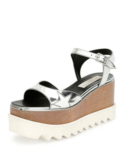Hackney Faux Mirrored-Leather Platform Sandals, Indium/White
