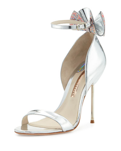 Maya Bow Metallic 115mm Sandal, Silver