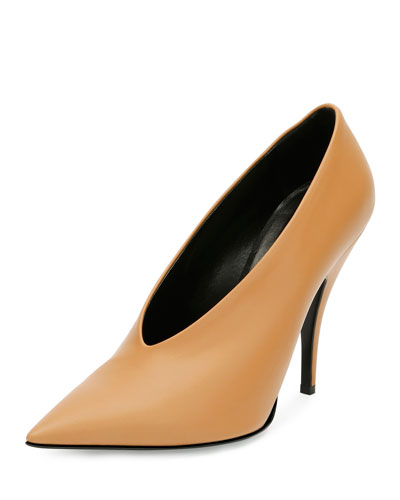 High-Vamp Pointed-Toe Pump, Tan