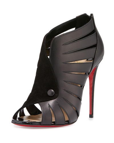 Toot Mignonne Caged Open-Toe Red Sole Bootie, Black