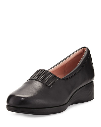 Tamera Leather Wedge Pump, Black