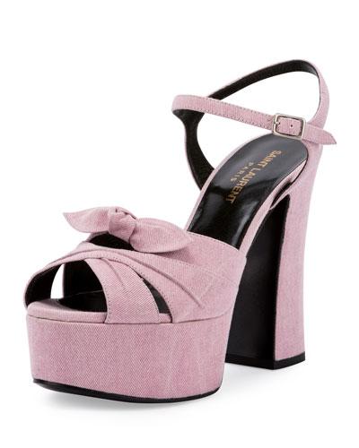Candy Denim Platform 135mm Sandal, Rosado